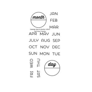 Technique-Tuesday-Calendar-Months-and-Days-Clear-Stamps-Medium